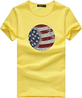 Respctful✿American Flag Short Sleeve Top Women USA Vintage Graphic Tee Summer Casual Round Neck T-Shirt