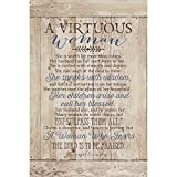 Virtuous Woman Wood Plaque with Inspiring Quotes 6x9 - Classy Vertical Frame Wall & Tabletop Decoration | Easel & Hanging Hook | She is Worth far More Than Rubies. She Speaks with Wisdom