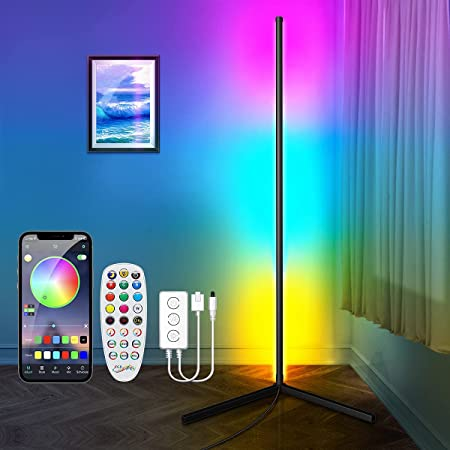 156CM Lampadaire LED Bluetooth, CGN RGBW LED Lampadaire Salon sur Pied d'angle Moderne Lampe d'Ambiance Multicolore Dimmable avec Télécommande et APP Contrôle Eclairage LED Decoration à l'Intérieur