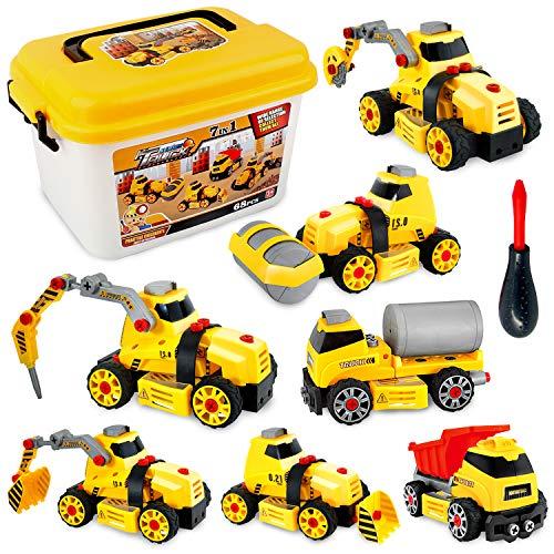 Sanlebi Macchina da Assemblare Camion Giocattolo Giochi Costruzioni 7 in 1 con Scatola di Immagazzinaggio per Bambini 4 5 6 7 Anni