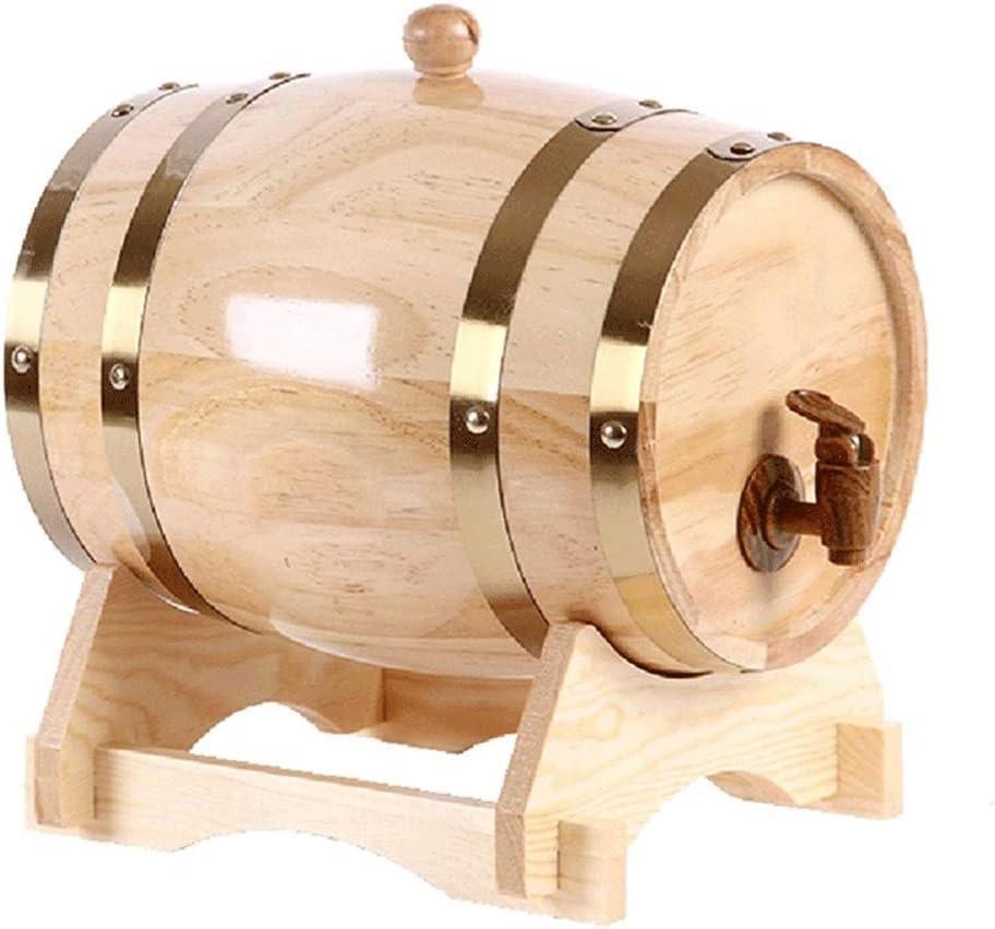 LPLND Barril de Vino Vintage Wood Oak Timber Wine Barrel Dispensador con Soporte de Madera, for Almacenamiento de Vino y licores barriles de Cerveza (Color : D, Size : 3L)
