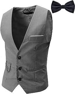 Men's Top Designed Tuxedo Blazer Suit Vest Waistcoat with Bow Tie