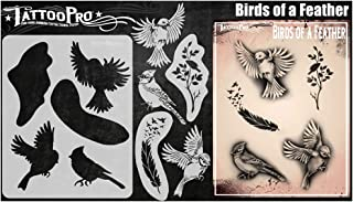 Tattoo Pro Stencils - Birds of a Feather, Mylar Airbrush Body Painting Stencil, Herbruikbare Face Paint Tattoo-sjabloon, G...