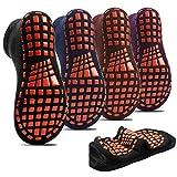 Non-slip Indoor Trampoline Socks ,Sticky Grip floor Anti-Skid Socks Yoga Rubber Bottom Breathable Cotton Socks 4Pairs