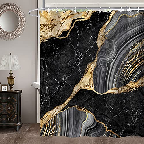 Miyotaa Black Gold Marble Shower Curtain Set 60Wx71H Inches Crack Ink Texture Luxury Abstract Decorative Stone Polyester Waterproof Cloth Bathroom Curtain with 12 Hooks