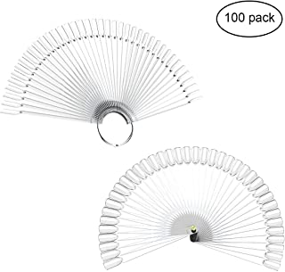YoungRich 2-Set 100-Pack Fake False Nail Fan-shaped Art Polish Tips Sticks Display UV Lamps Applicable with Metal Ring Screw for DIY Nail Art Gel Design Clear
