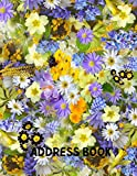 Address Book: Floral Cover , , Perfect for Keeping Track of Addresses, Email, Mobile, Work & Home Phone Numbers, Social Media & Birthdays