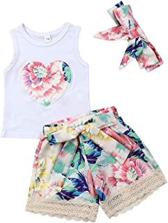 Toddler Girls Sleeveless Heart Vest Tops+Floral Shorts Outfit Clothes Set with Headband