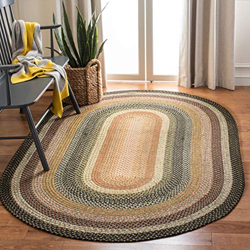 Safavieh Braided Collection Hand Woven Blue and Multi Oval Area Rug (5' x 8' Oval)