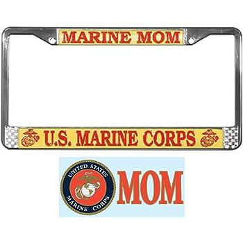 Elegant License Frame Marine Corps Marine MOM Metal Waterproof Stainless Steel Auto License Tag Holder Nuoyizo U.S