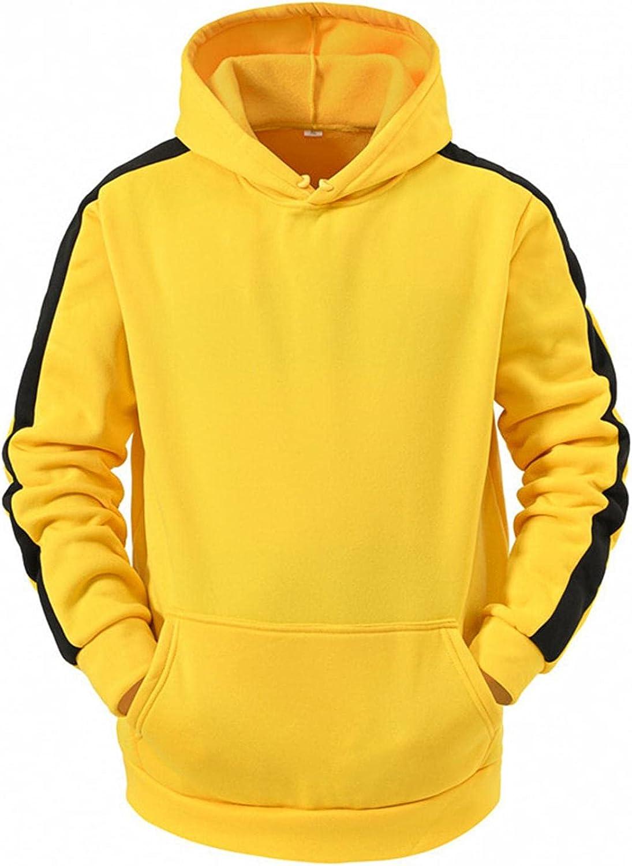 Lovor Mens Fashion Athletic Hoodies Sport Sweatshirt Solid Fleece Pullover Novelty Color Block Fleece Hoodie with Pocket
