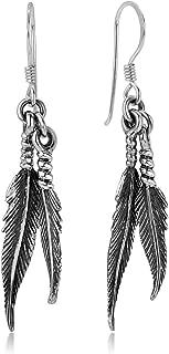 925 Oxidized Sterling Silver Vintage Native American Dangling Bird Feather Dangle Hook Earrings 1.8