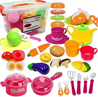 FUNERICA Set of Pretend Food and Dishes Cookware Playset for Kids - Includes Play Food - Play Dishes - Cutting Play Vegetables - Mini Pots and Pans - Kettle - Knife and More