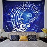 Leofanger Music Tapestry Wall Hanging Blue Music Note Wall Tapestry Hippie Bohemian Psychedelic Mandala Tapestry for Bedroom Home Dorm Decor