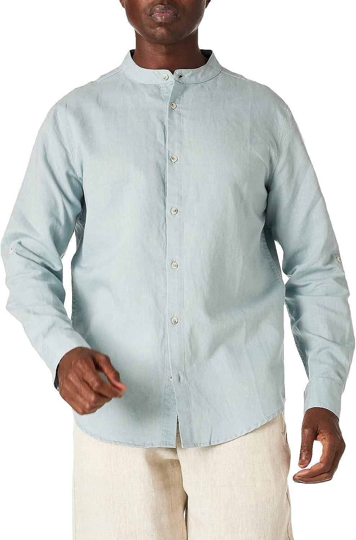 Isle Bay Linens Men's Slim-Fit Linen Cotton Blend Roll-up Long Sleeve Band Collar Woven Casual Shirt