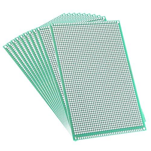 Sourcingmap - Circuito stampato universale con conduttori su entrambi i lati, 10 x 15cm, per saldatura fai da te, 10 pezzi