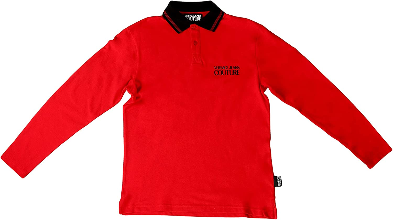 Versace Jeans Couture Red 100% Cotton Long Sleeve Polo Shirt- for Mens