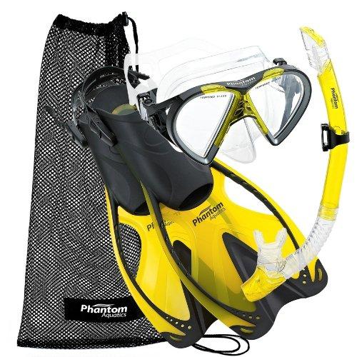 Phantom Aquatics Phantom Aquatics Adult Speed Sport Mask Fin Snorkel Set, Yellow, S/M, US 6-8