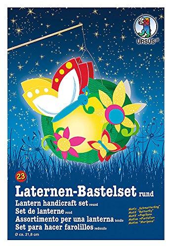 Ursus 18700023 - Laternen Bastelset, Schmetterling, ca. 21,8 x 21 x 10,3 cm, Durchmesser ca. 21,8 cm, inklusive Vorlagebogen mit Bastelanleitung,zum Selbstgestalten,ideal für den nächsten Laternenlauf