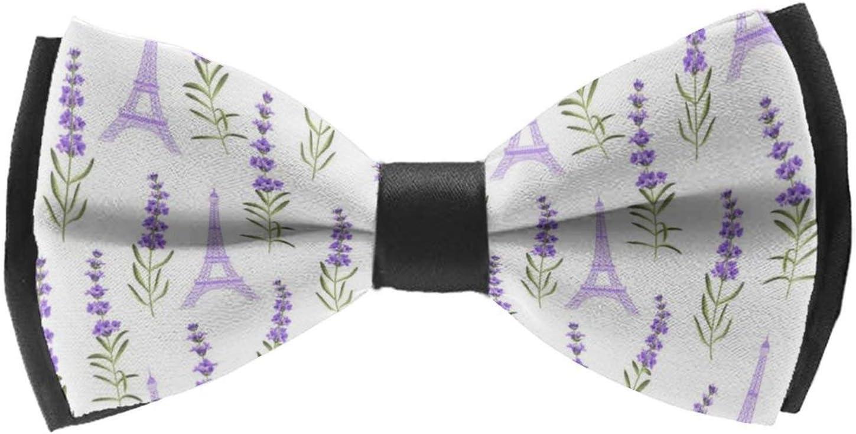 AMRANDOM Fashion Men Boys Pattern Pre-Tied Bow Tie Adjustable Length Large Bow Tie Classic Woven Bowtie for Tuxedo Wedding Christmas, Purple Lavender Paris Eiffel Tower