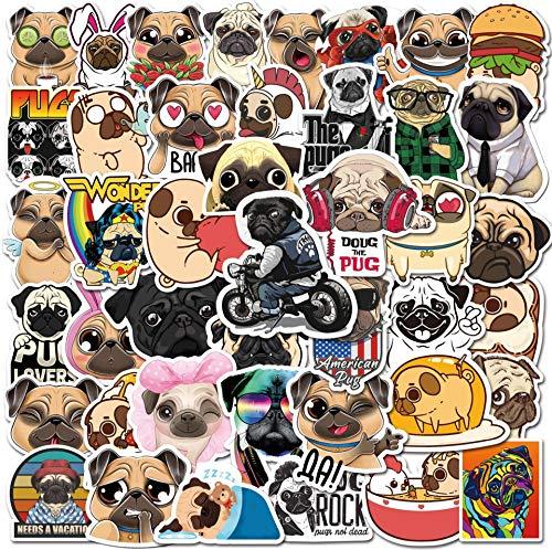 ZXXC 50Pcs Cartoon Shar Pei Dog Pug Graffiti Sticker Suitcase Laptop Helmet Pvc Sticker