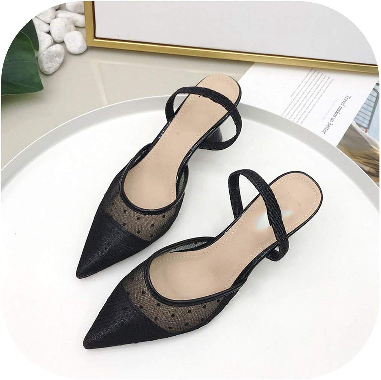 Flat Sandals Lace Sandals Polka Dot Lace Cat Heels Slippers Women Belt Wedges Sandalias shoes