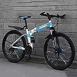VTT Pliant Vélo Tout Terrain Tout Suspendu de 24 Pouces Cadre en Acier au Carbone Frein à Disque Double 10 Roues à Rayons 21 Vitesses Convient aux Hommes et aux Femmes Adulte Enfant,Bleu,24 Speed