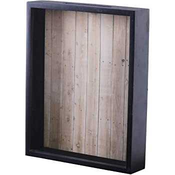 Shadow Box Display Case – Top Loading Black Wood Frame - Showcase Bottle Caps, Shells, Ticket Stubs, Airline Tickets, and More