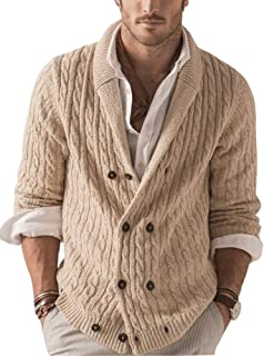 Gafeng Mens Chunky Shawl Collar Double Breasted Chunky Cable Knitted Thermal Thick Winter Cardigan Sweaters