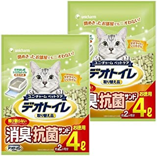 1週間消臭・抗菌デオトイレ 取り替え品 飛び散らない消臭・抗菌サンド 4L×2袋