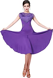 ZX Ballroom Dance Dresses for Women Fringed Lace Back Salsa Latin Dance Dress with Shorts (5 Colors)