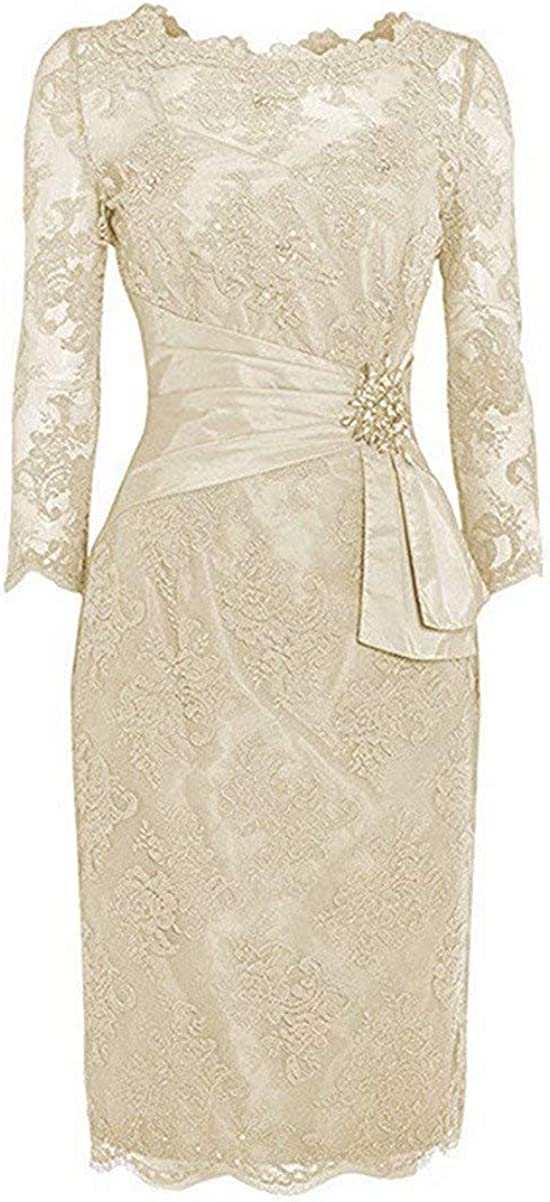 Jacllix Women's 3/4 Sleeves Mother Of The Bride Dress Short Mermaid Evening Gown