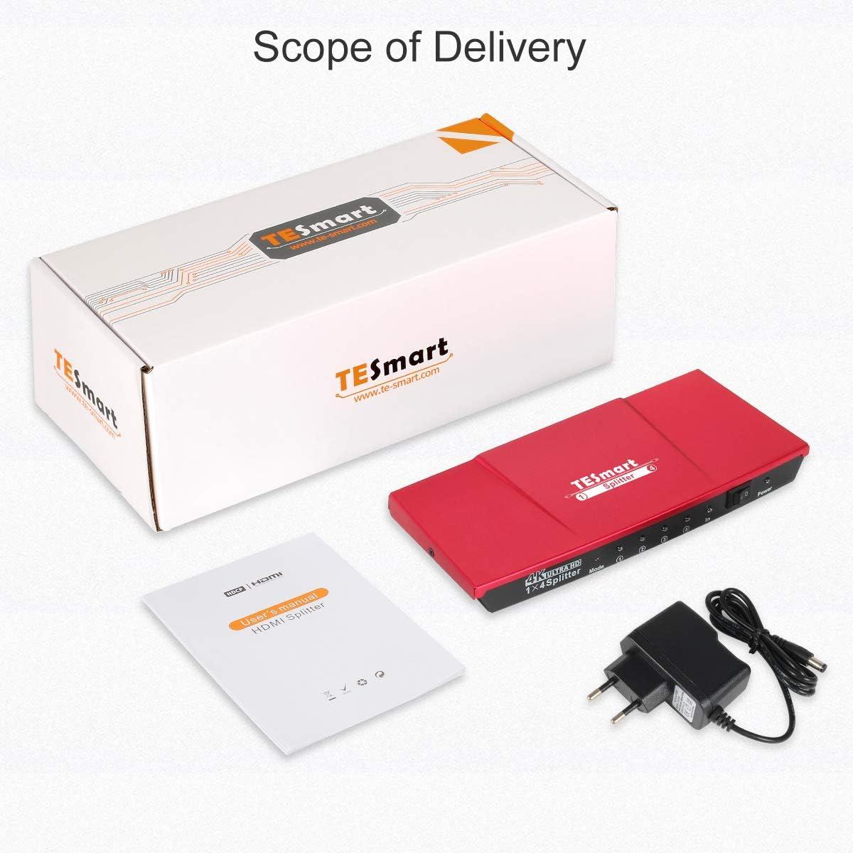 Accesorios TESmart HDMI Splitter 4K HDMI Duplicator 1 Entradas 4 ...