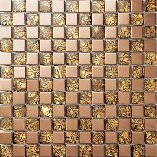 Stile moderno Vetro e acciaio inox mosaico mattonelle arte della parete 300*300mm--Cucina Backsplash/Parete da bagno/decorazione domestica(SA004-20/26)