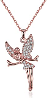 Rose Gold Platinum Plated Necklace Women's Pendant Tinkerbell AAA Zirconia 20 Inches 2MM Lobster Clasp B333