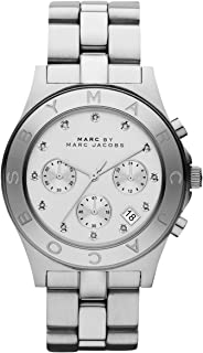 Marc Jacobs Women's Quartz Watch, Analog Display and Stainless Steel Strap Mbm3100, Silver Band