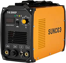 SUNCOO 200A TIG Welder MMA/STICK/ARC Welding Machine Inverter DC TIG-200CP HF Dual Voltage 110/220V with LED Digital Display Brush and Mask Yellow