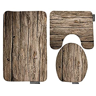 Wondertify Bath Mat,Wood,Rustic Old Barn Wood Bathroom Carpet Rug,Non-Slip 3 Piece Bathroom Mat Set