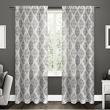 Exclusive Home Curtains Nagano Sheer Rod Pocket Window Curtain Panel Pair, Black Pearl, 54x96