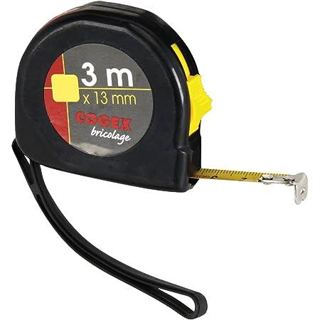 Cogex 46407 Mètre à ruban Boîtier plastique , Gris, 3 m x 13 mm