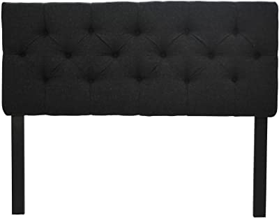 Sole Designs Jackie Collection Luxury Upholstered 8 Diamond Tufted Adjustable Wales Series Headboard, Twin, Black