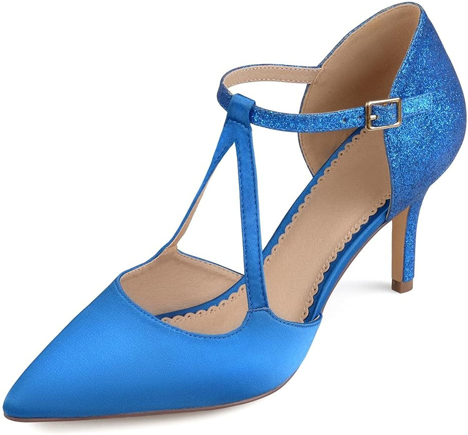 6012a6015b Brinley Co Womens Faux Leather Satin Glitter Pointed Toe V-Strap Heels