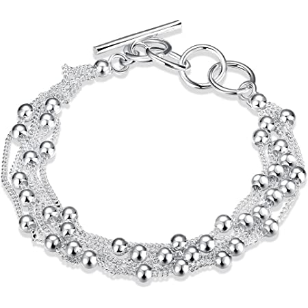 LDUDU® Braccialetto femminile 925 Argento con palle braccialetto per donne regolabile 17-20cm ideale regalo per compleanno, Natale, matrimonio, San valentino.