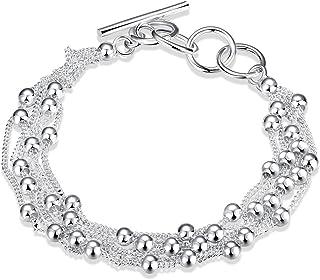 LDUDU® Braccialetto femminile 925 Argento con palle braccialetto per donne regolabile 17-20cm ideale regalo per compleanno...