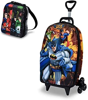 Mochila Mochilete Escolar 3D e Lancheira MaxToy Liga Da Justiça Batman