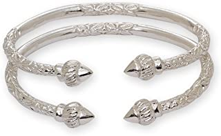 Better Jewelry Ridged Arrow .925 Sterling Silver West Indian Bangles (Pair 67g) (Made in USA)