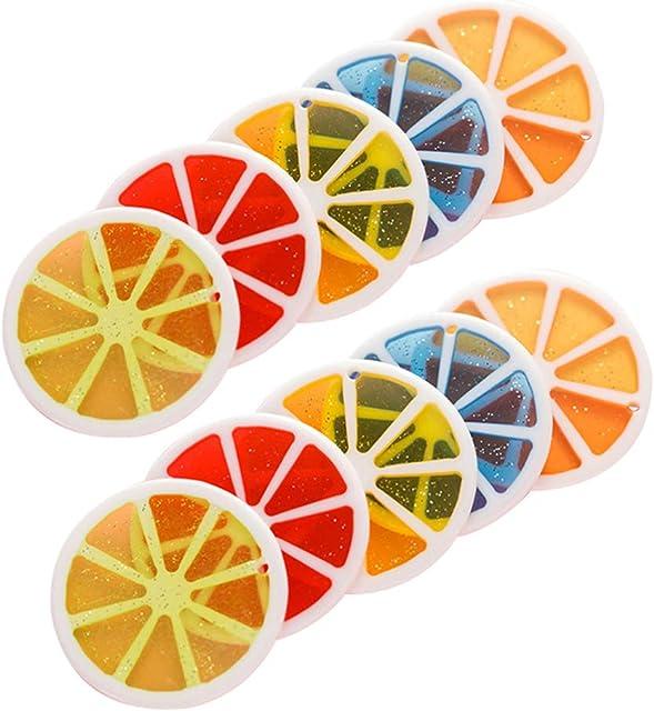 BESPORTBLE 10 Piezas Naranja Artificial Rodaja de Limón Plástico Fruta Encantos Diy Accesorios de Fotografía Cóctel Decoración Llavero Joyería Artesanía Accesorios (Color Aleatorio)