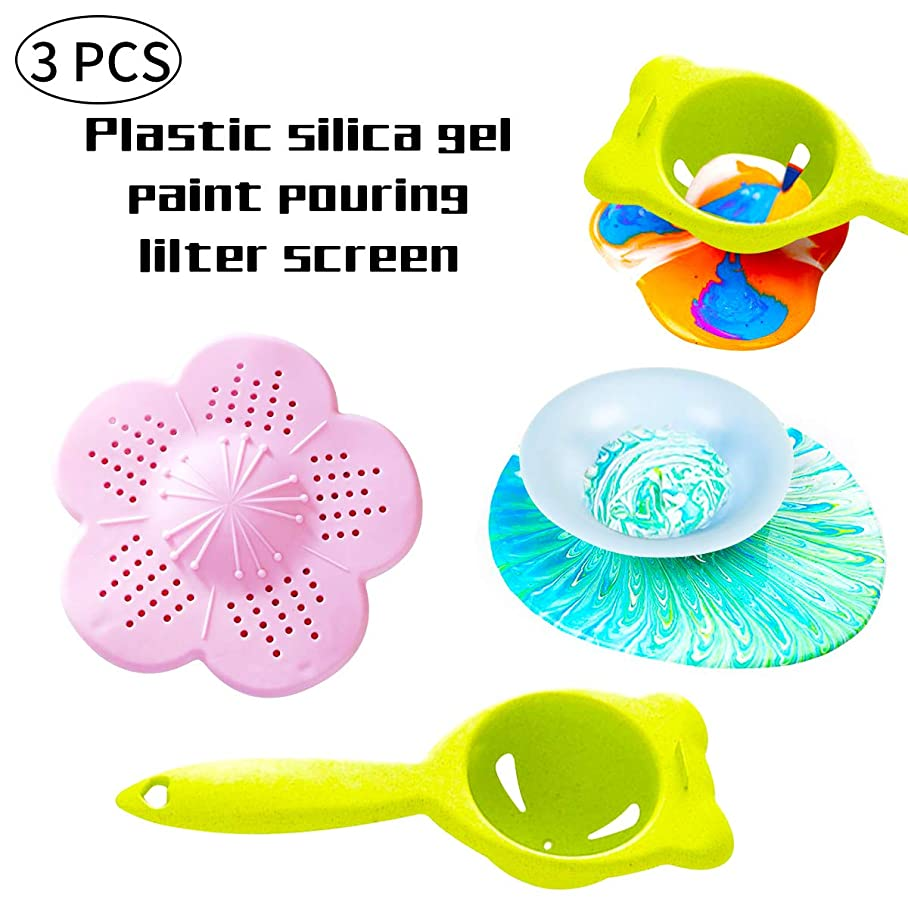 Acrylic Pouring Strainers Plastic Strainers Plastic Silicone Paint Sink Strainer for Paint Pouring Supplies 3Pieces r258001916