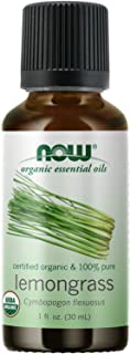NOW Essential Oils, Organic Lemongrass Oil, Uplifting Aromatherapy Scent, Steam Distilled, 100% Pure, Vegan, Child Resista...