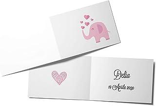 110 Biglietti Bomboniera Elefante Rosa Battesimo Nascita